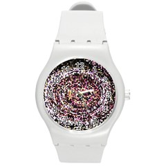 Mosaic Colorful Abstract Circular Round Plastic Sport Watch (m) by Amaryn4rt