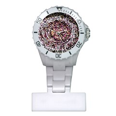Mosaic Colorful Abstract Circular Plastic Nurses Watch by Amaryn4rt