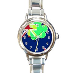 Irish Shamrock New Zealand Ireland Funny St Patrick Flag Round Italian Charm Watch by yoursparklingshop