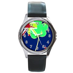 Irish Shamrock New Zealand Ireland Funny St Patrick Flag Round Metal Watch by yoursparklingshop