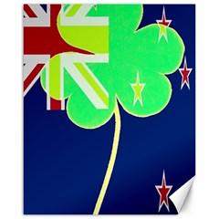 Irish Shamrock New Zealand Ireland Funny St Patrick Flag Canvas 16  X 20   by yoursparklingshop