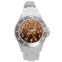Ice Iced Structure Frozen Frost Round Plastic Sport Watch (l) by Amaryn4rt