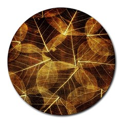Leaves Autumn Texture Brown Round Mousepads