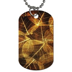 Leaves Autumn Texture Brown Dog Tag (two Sides) by Amaryn4rt