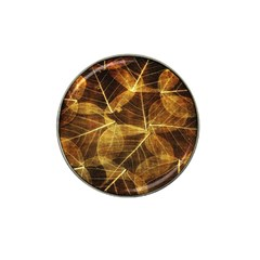 Leaves Autumn Texture Brown Hat Clip Ball Marker by Amaryn4rt