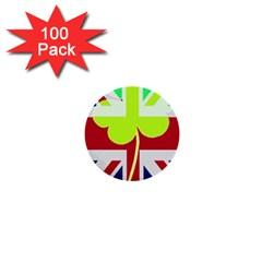Irish British Shamrock United Kingdom Ireland Funny St  Patrick Flag 1  Mini Buttons (100 Pack)  by yoursparklingshop