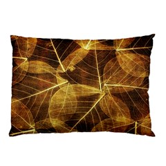 Leaves Autumn Texture Brown Pillow Case (two Sides) by Amaryn4rt