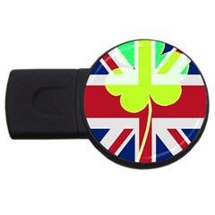 Irish British Shamrock United Kingdom Ireland Funny St  Patrick Flag Usb Flash Drive Round (2 Gb)
