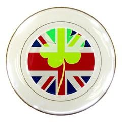 Irish British Shamrock United Kingdom Ireland Funny St  Patrick Flag Porcelain Plates