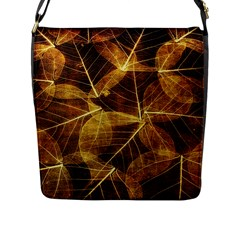 Leaves Autumn Texture Brown Flap Messenger Bag (l)  by Amaryn4rt