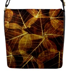 Leaves Autumn Texture Brown Flap Messenger Bag (s) by Amaryn4rt