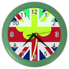 Irish British Shamrock United Kingdom Ireland Funny St  Patrick Flag Color Wall Clocks
