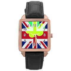 Irish British Shamrock United Kingdom Ireland Funny St  Patrick Flag Rose Gold Leather Watch