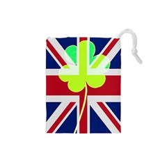 Irish British Shamrock United Kingdom Ireland Funny St  Patrick Flag Drawstring Pouches (small)