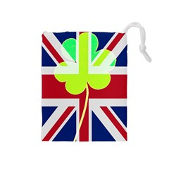Irish British Shamrock United Kingdom Ireland Funny St  Patrick Flag Drawstring Pouches (medium)