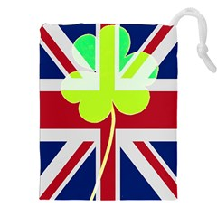 Irish British Shamrock United Kingdom Ireland Funny St  Patrick Flag Drawstring Pouches (xxl)