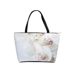 Orchids Flowers White Background Shoulder Handbags by Amaryn4rt