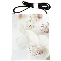 Orchids Flowers White Background Shoulder Sling Bags by Amaryn4rt