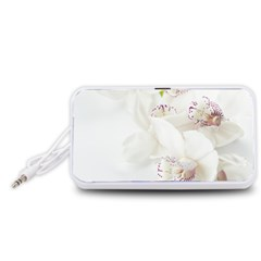 Orchids Flowers White Background Portable Speaker (White)  by Amaryn4rt