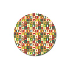Pattern Christmas Patterns Magnet 3  (round) by Amaryn4rt
