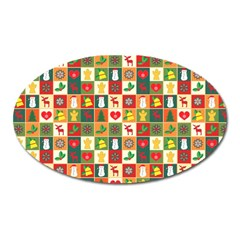 Pattern Christmas Patterns Oval Magnet by Amaryn4rt