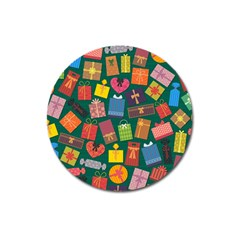 Presents Gifts Background Colorful Magnet 3  (round) by Amaryn4rt