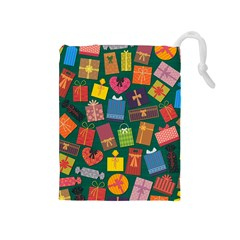 Presents Gifts Background Colorful Drawstring Pouches (medium)  by Amaryn4rt