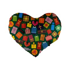 Presents Gifts Background Colorful Standard 16  Premium Flano Heart Shape Cushions by Amaryn4rt