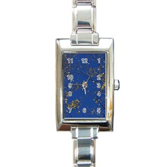 Poplar Foliage Yellow Sky Blue Rectangle Italian Charm Watch by Amaryn4rt