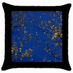 Poplar Foliage Yellow Sky Blue Throw Pillow Case (black) by Amaryn4rt