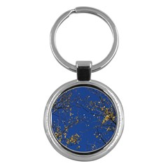 Poplar Foliage Yellow Sky Blue Key Chains (round)  by Amaryn4rt