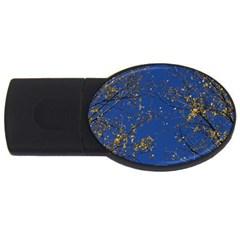 Poplar Foliage Yellow Sky Blue Usb Flash Drive Oval (4 Gb)  by Amaryn4rt