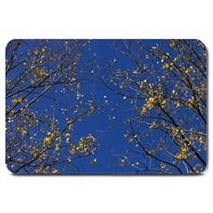 Poplar Foliage Yellow Sky Blue Large Doormat  by Amaryn4rt