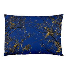 Poplar Foliage Yellow Sky Blue Pillow Case by Amaryn4rt
