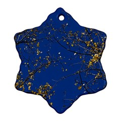 Poplar Foliage Yellow Sky Blue Snowflake Ornament (2 Side) by Amaryn4rt