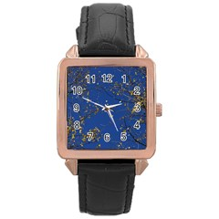 Poplar Foliage Yellow Sky Blue Rose Gold Leather Watch