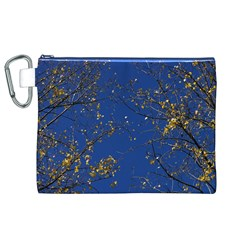 Poplar Foliage Yellow Sky Blue Canvas Cosmetic Bag (xl)