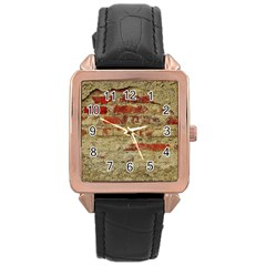Wall Plaster Background Facade Rose Gold Leather Watch  by Amaryn4rt