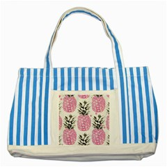 Lovely Pink Pineapple  Striped Blue Tote Bag by Brittlevirginclothing