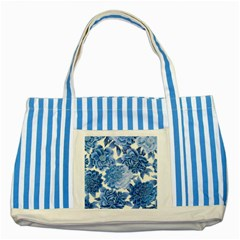 Blue Toned Flowers Striped Blue Tote Bag by Brittlevirginclothing