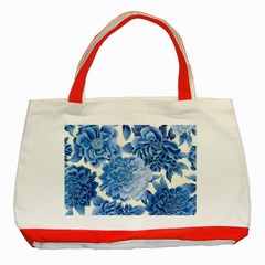 Blue Toned Flowers Classic Tote Bag (red) by Brittlevirginclothing