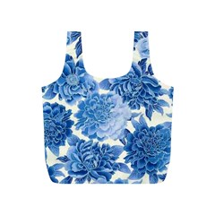 Blue Toned Flowers Full Print Recycle Bags (s)  by Brittlevirginclothing