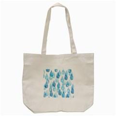 Cute Blue Rain Drops Tote Bag (cream) by Brittlevirginclothing