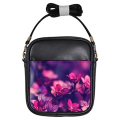 Blurry Violet Flowers Girls Sling Bags by Brittlevirginclothing