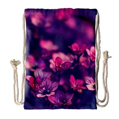 Blurry Violet Flowers Drawstring Bag (large) by Brittlevirginclothing