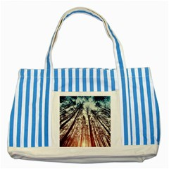 Lovely Up View Forest  Striped Blue Tote Bag by Brittlevirginclothing