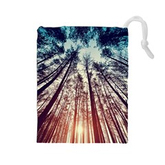 Lovely Up View Forest  Drawstring Pouches (large)  by Brittlevirginclothing