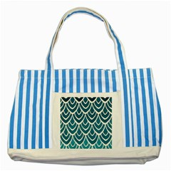 Blue Fish Scales  Striped Blue Tote Bag by Brittlevirginclothing