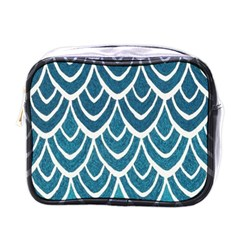 Blue Fish Scales  Mini Toiletries Bags by Brittlevirginclothing