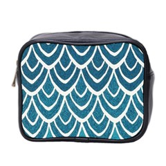 Blue Fish Scales  Mini Toiletries Bag 2 Side by Brittlevirginclothing